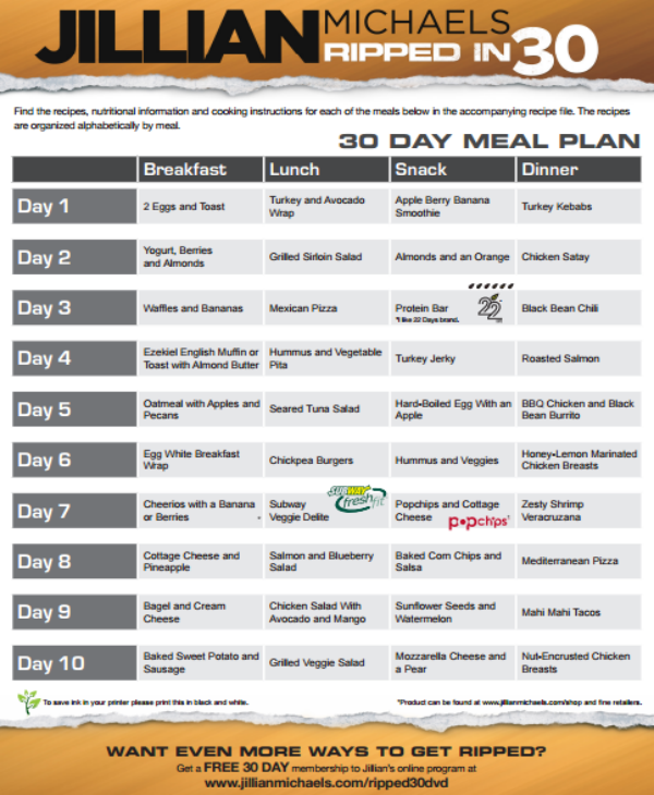 30 day meal plan sample