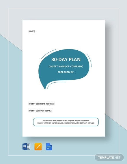 30 Day Plan Template