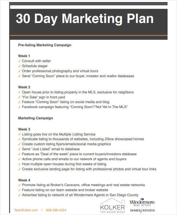 30 day real estate marketing plan