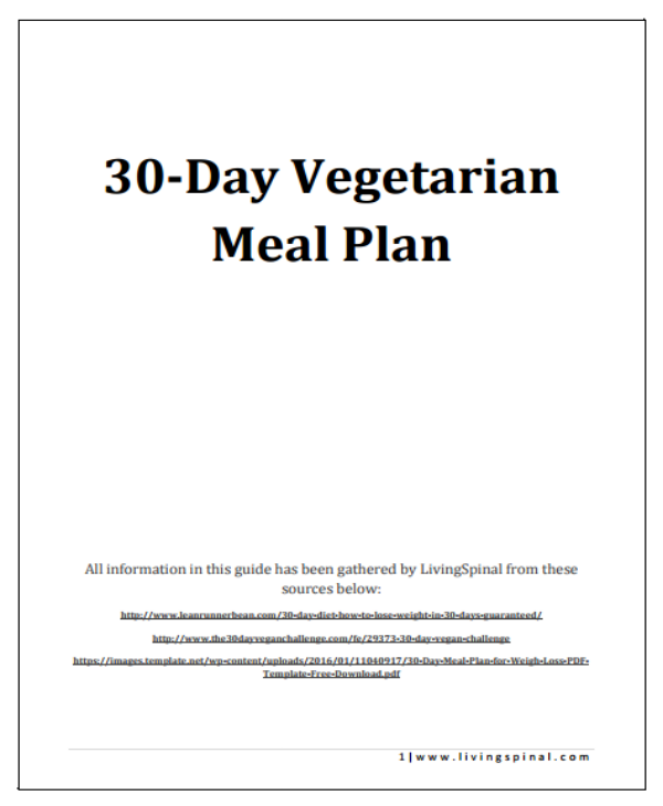 30 day vegetarian meal plan sample
