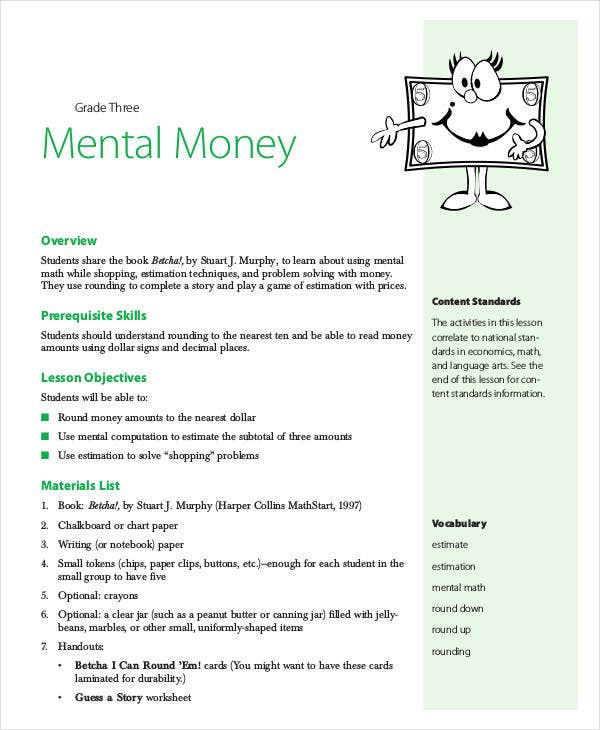 3rd grade math lesson plans on money