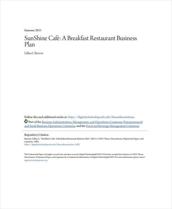 a breakfast restaurant business plan