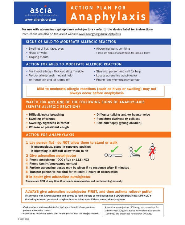 ascia action plan anaphylaxis generic orange