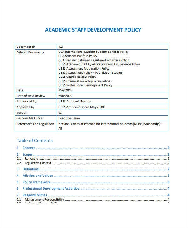 academic staff development policy