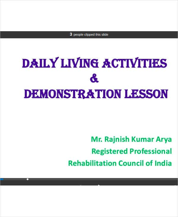 activities of daily living lesson plan ppt format