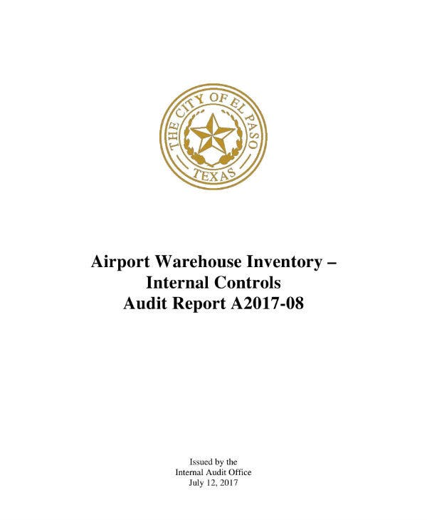 airport warehouse inventory audit report sample