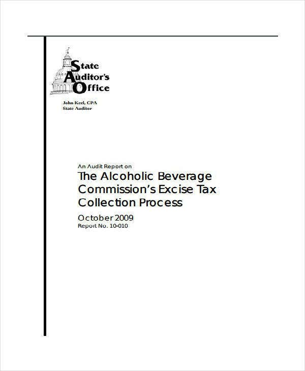 alcohol tax audit report template
