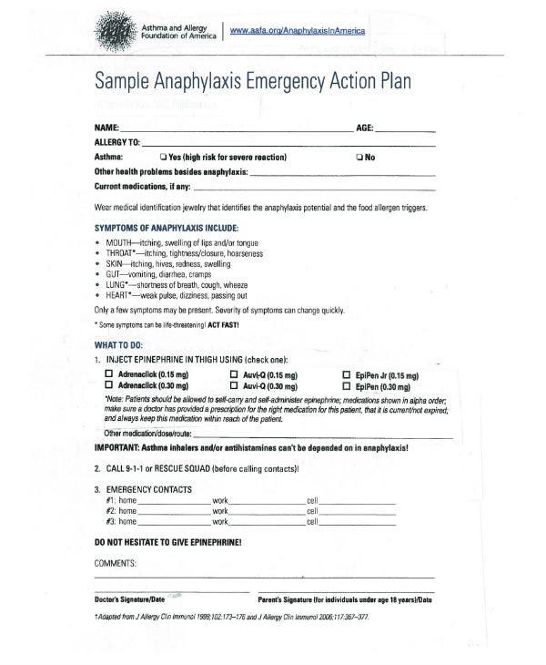 anaphylaxis emergency action plan sample template