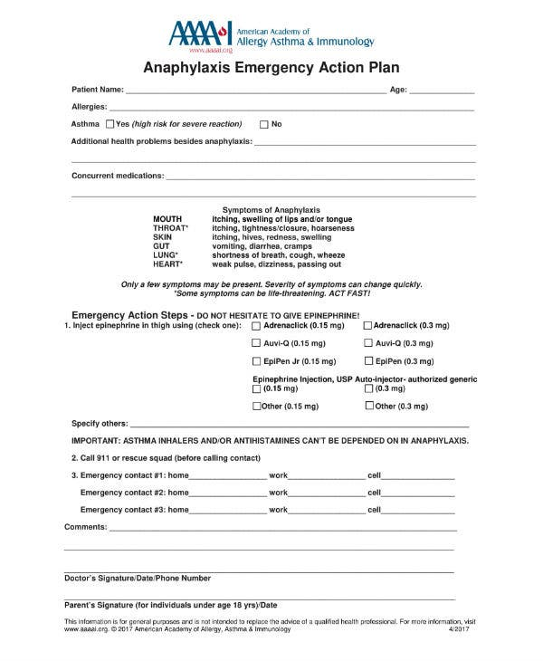 anaphylaxis emergency action plan