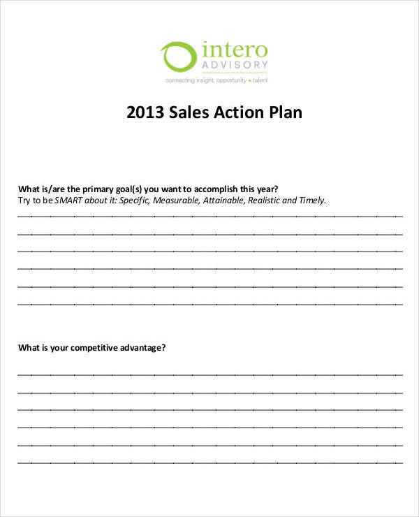 annual sales action plan template