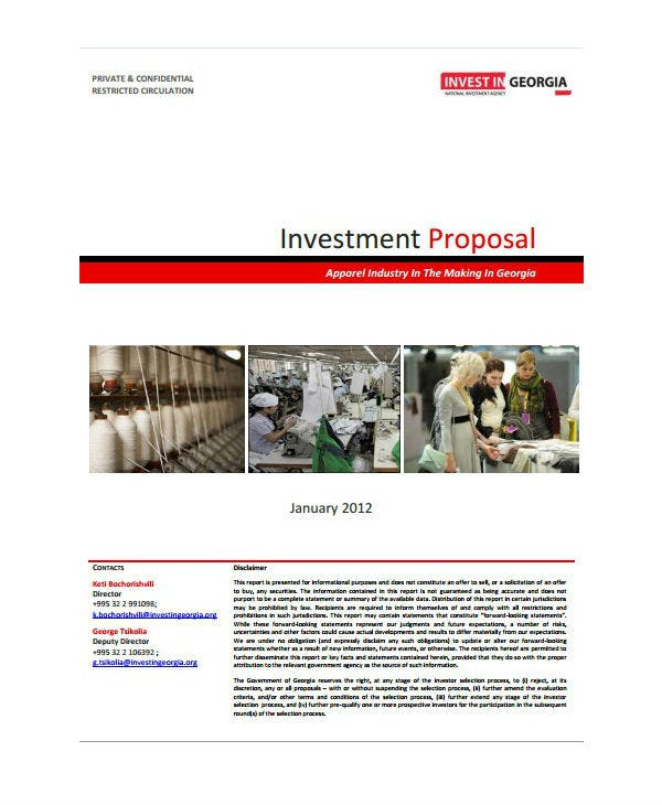 apparel industry capital investment proposal template