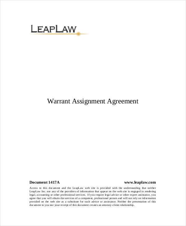 assignment of warrant agremeent