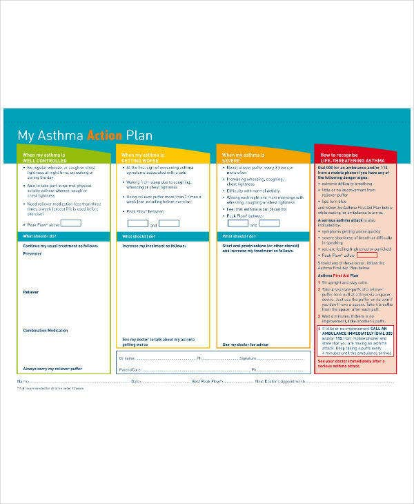 Asthma Action Plan Sample Template