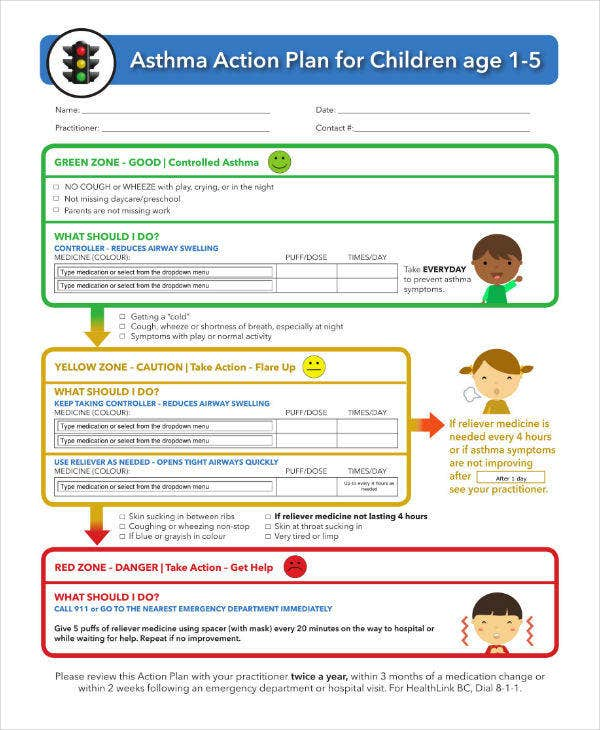 Asthma Action Plan for Children Template