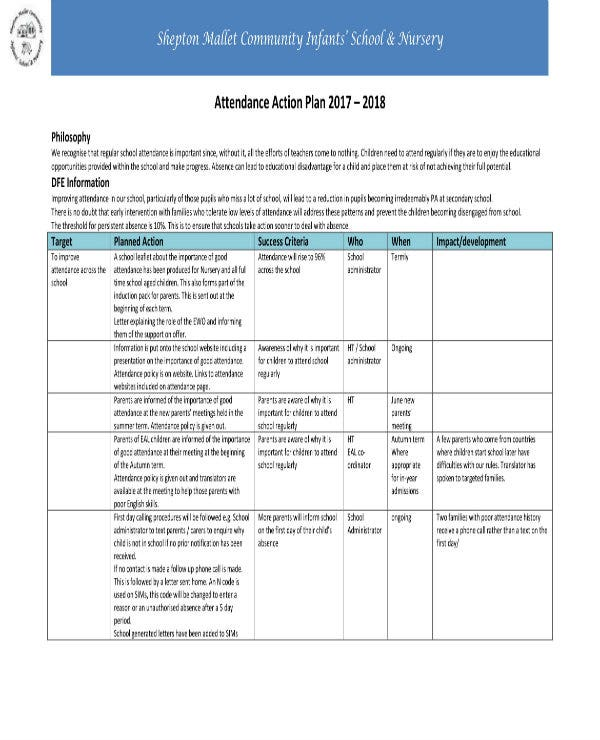 attendance action plan template 11