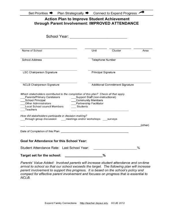 attendance improvement action plan 11