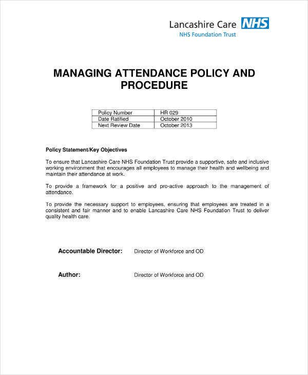 Attendance Policy and Procedure Action Plan