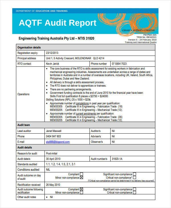 audit report engineering project
