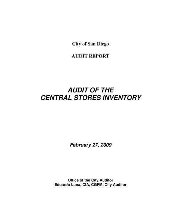 audit of the central stores inventory report sample