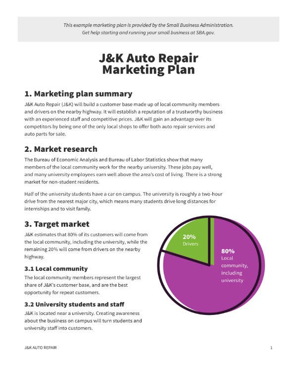 auto repair business marketing plan 1