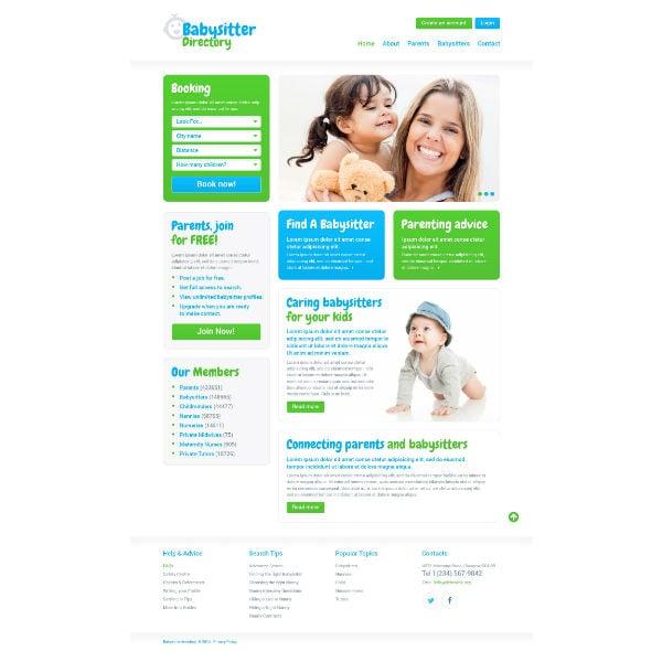 babysitter directory responsive website template