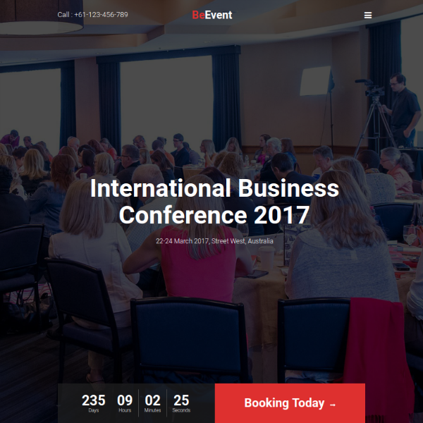 beevent conference website template