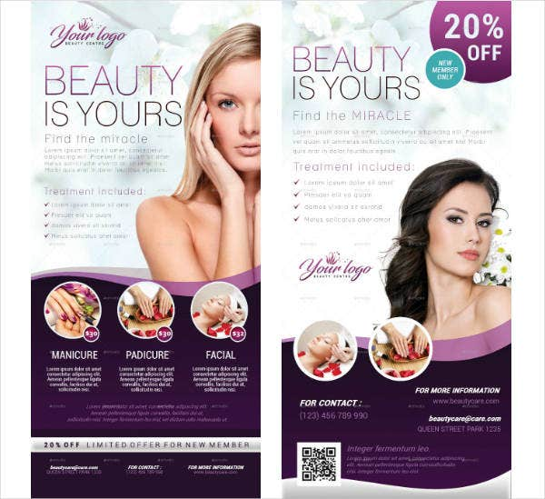 Beauty Care Salon Rack Card Template