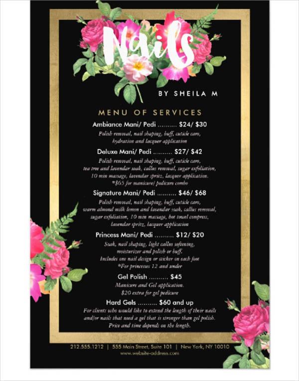 beauty-florals-nail-salon-black-flyer