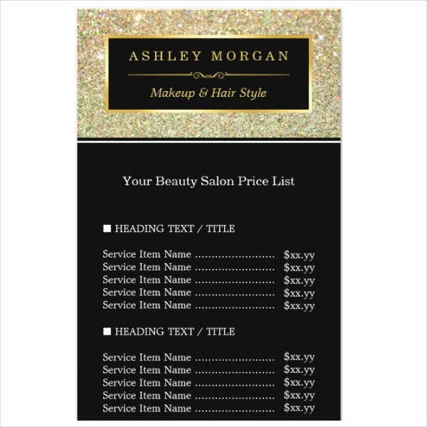 beauty-salon-funky-gold-glitter-price-list-rack-card