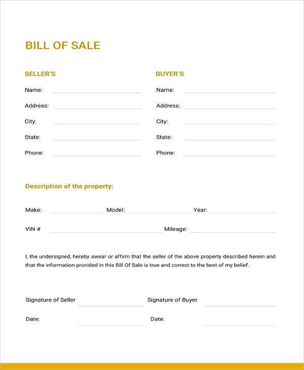 generic bill of sale template 12 free word pdf document