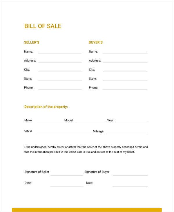 Bill Of Sale Template 44 Free Word Excel Pdf