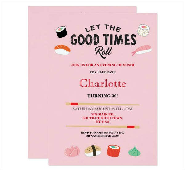 Birthday Lunch Party Invitation Template