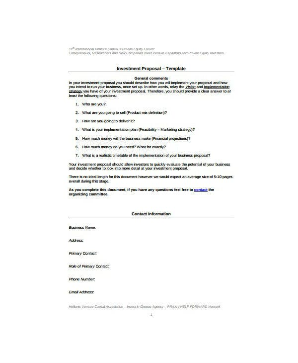 blank capital investment proposal template