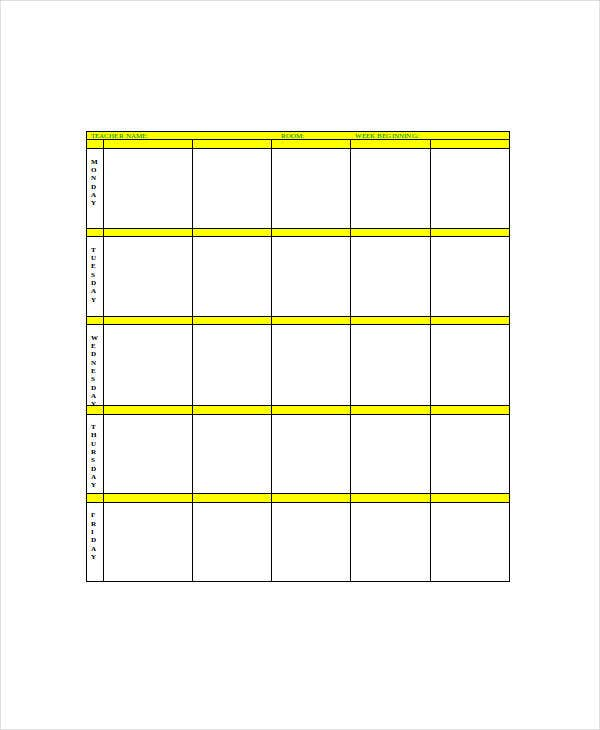 blank lesson plan forms