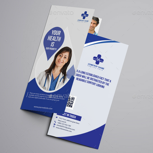 Blue Theme Medical Tri-Fold Brochure Template