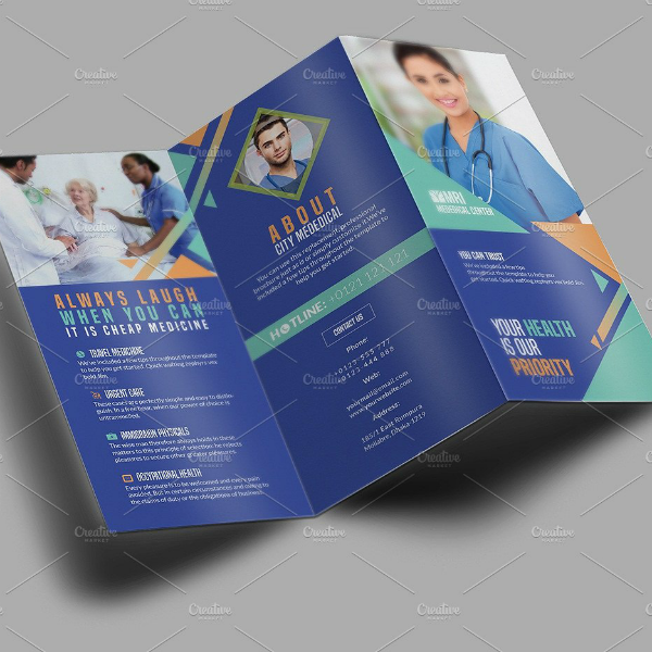 Blue Tri-Fold Style Medical Brochure Template