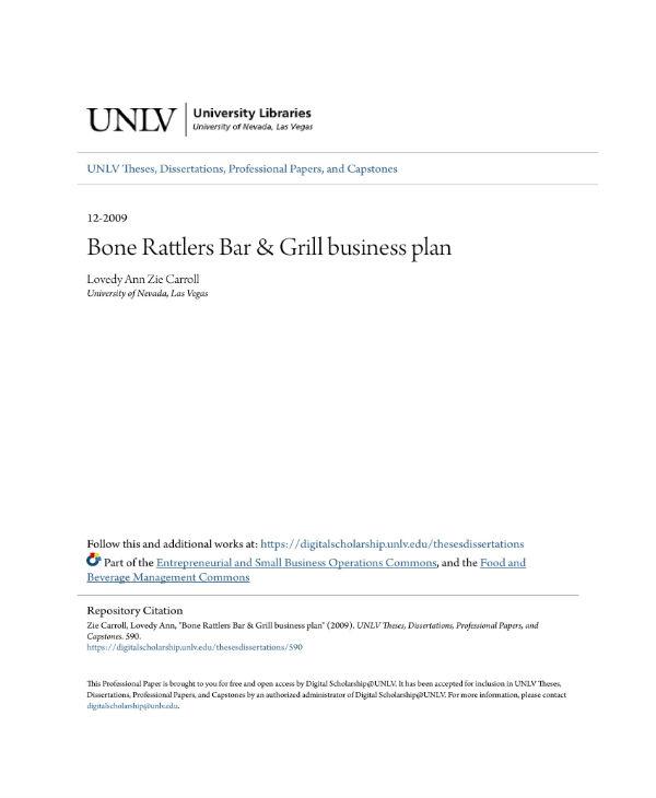 bone rattlers bar grill business plan 01
