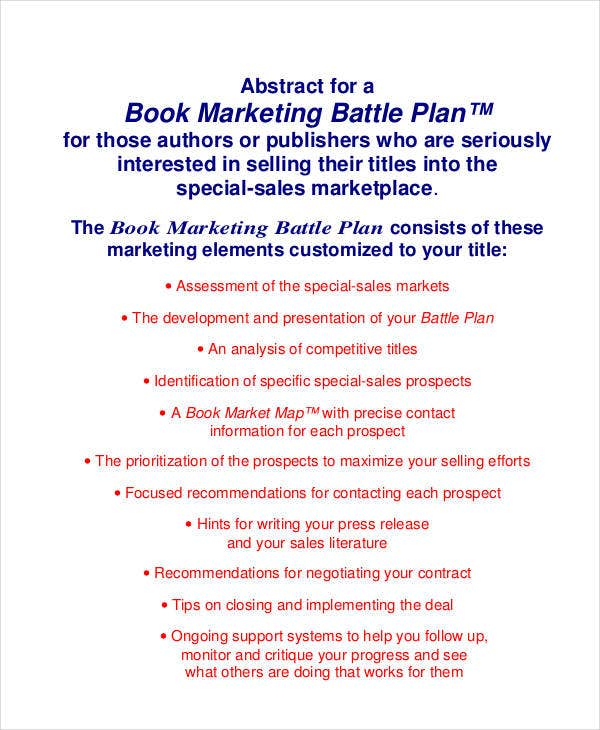 book marketing battle plan