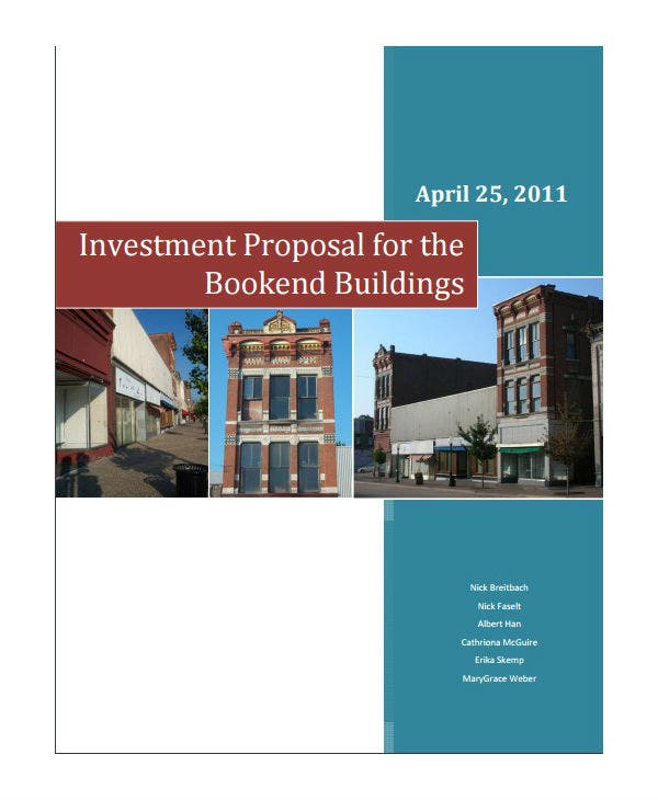 bookend building investment proposal investment template
