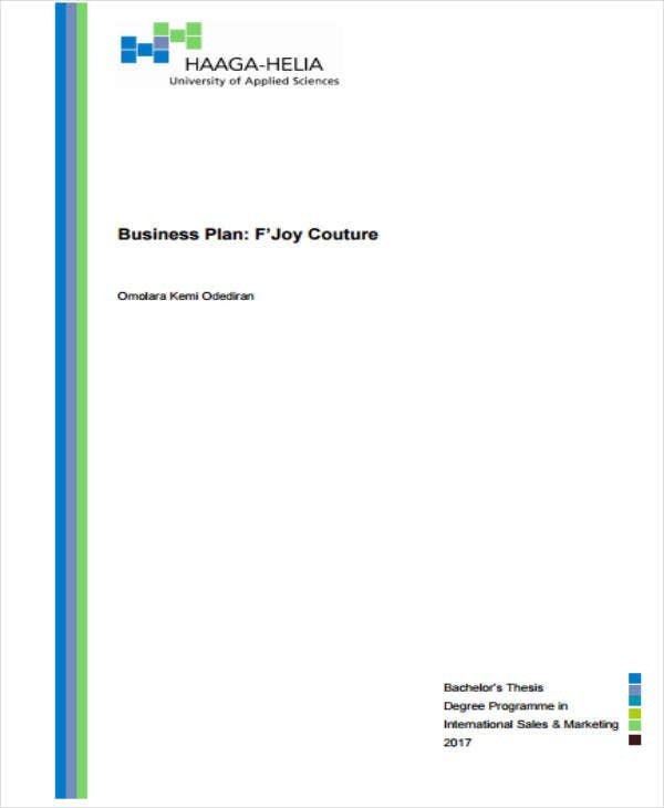 boutique business plan template