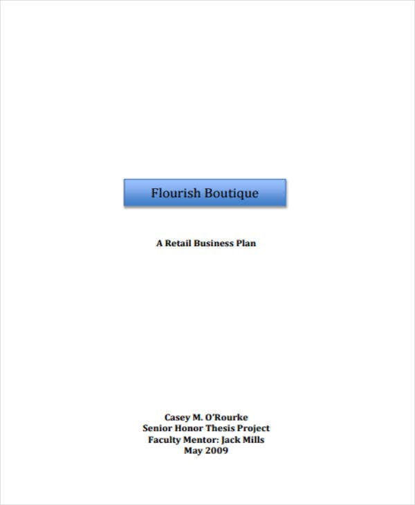 boutique retail business plan sample