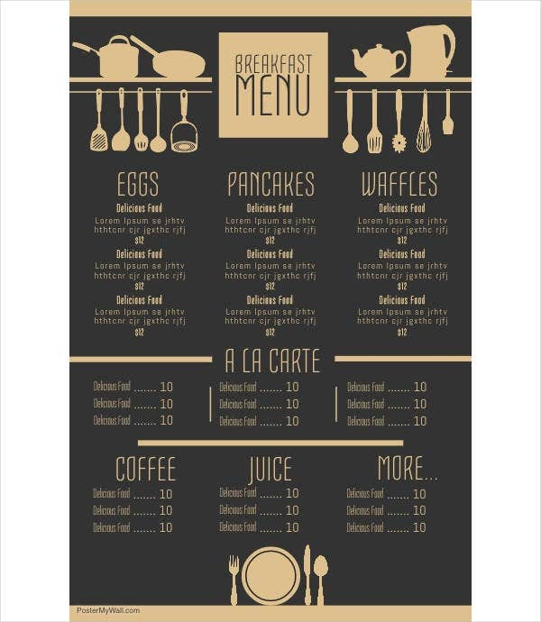 Breakfast Menu Example
