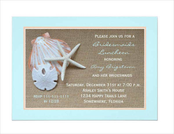 Bridesmaid Luncheon Party Invitation Example