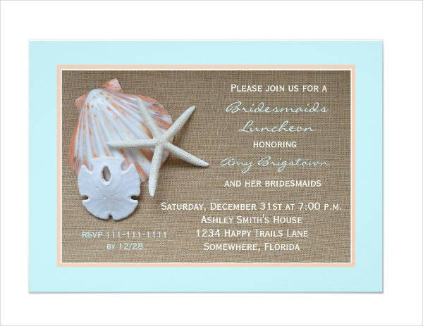 Bridesmaid Luncheon Party Invitation Example