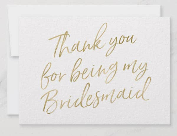 Bridesmaid Thank You Card Example