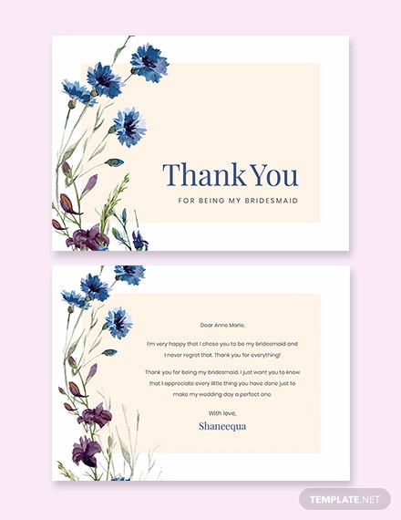 bridesmaid thank you card template
