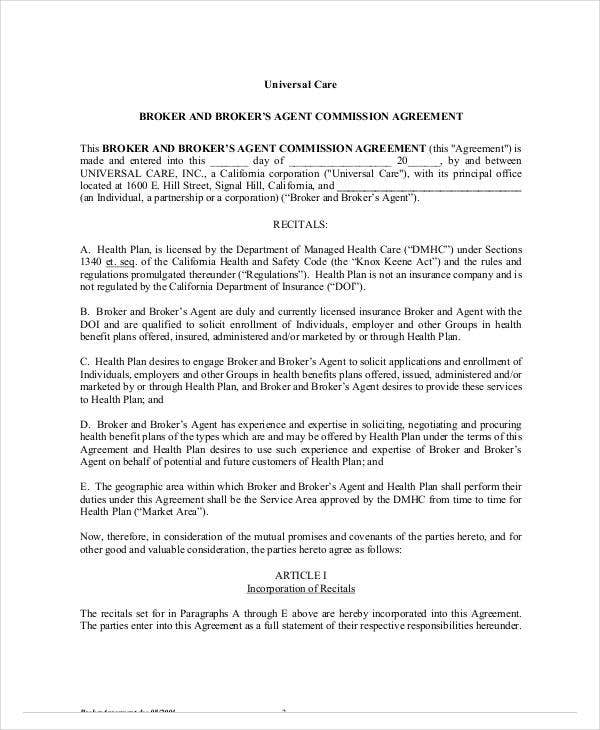 brokers agent commission agreement