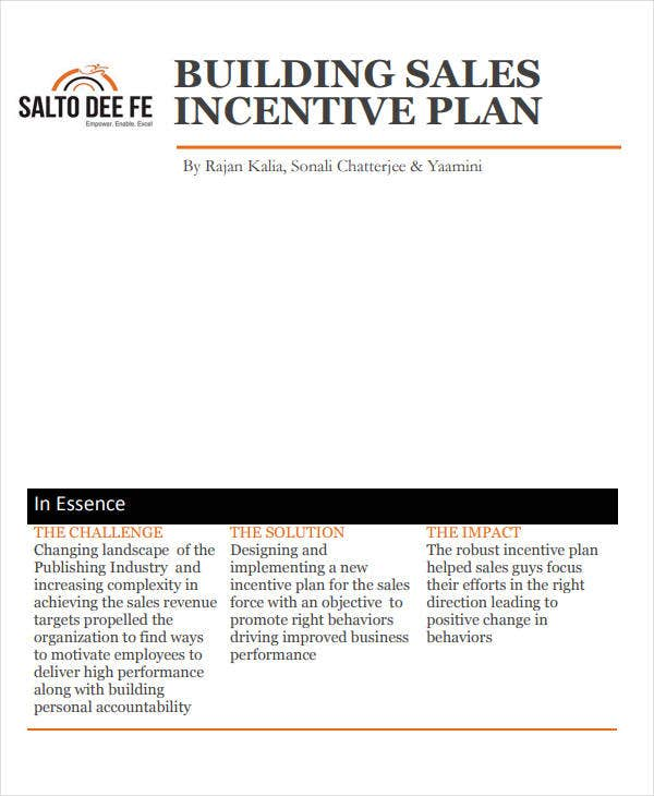 building sales incentive plan