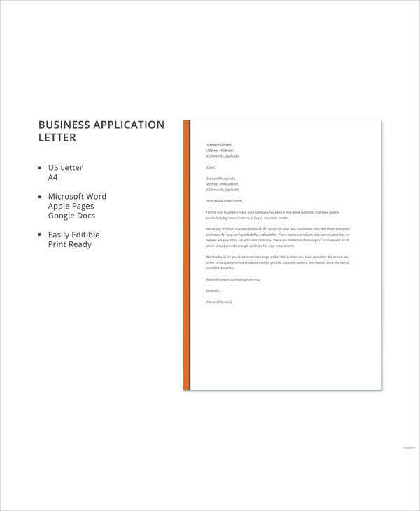 business application letter format