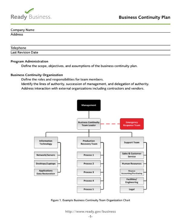 business continuity plan template 1